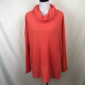 Anthropologie coral/orange cowl neck thermal